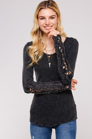 Urban X Thermal Scoop Neck Long Sleeve Crochet Lace 5 Colors