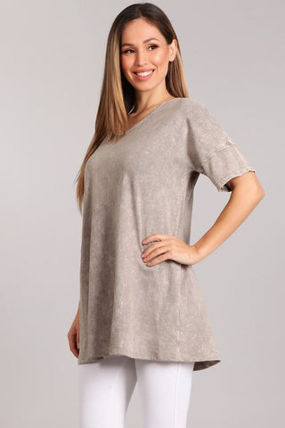 Chatoyant Mineral Washed Casual Tunic Top