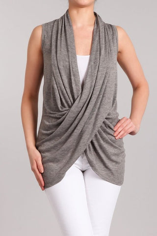 Chatoyant Sleeveless Wrap Top Heather Gray