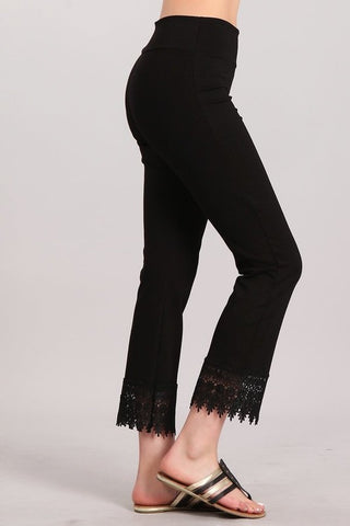 Chatoyant Cropped Straight Leg Pants with Crochet Lace