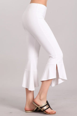 Chatoyant  Flared Asymmetric Hem White