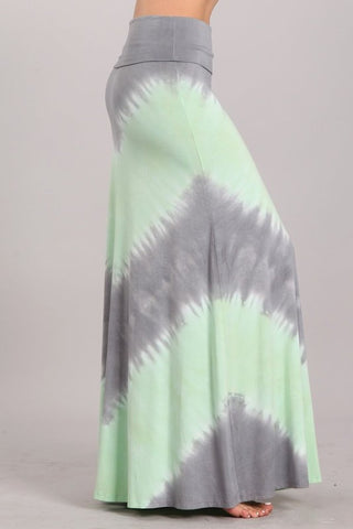 Chatoyant Tie Dye Skirt Mint and Gray