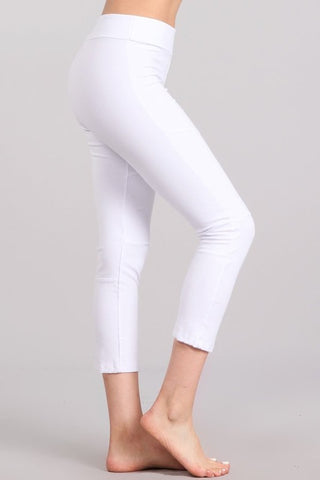 Chatoyant Mineral Washed Capri Pants White