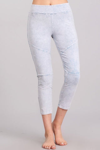 Chatoyant Mineral Wash Banded Waist Front Seam Leggings Powder Blue