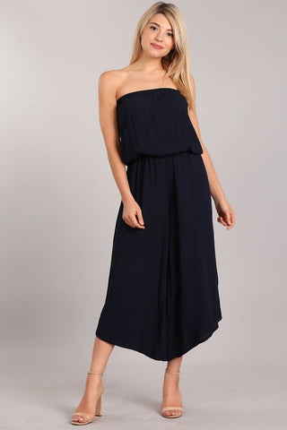 Chatoyant Strapless Cropped Wide Leg Jumpsuit Navy