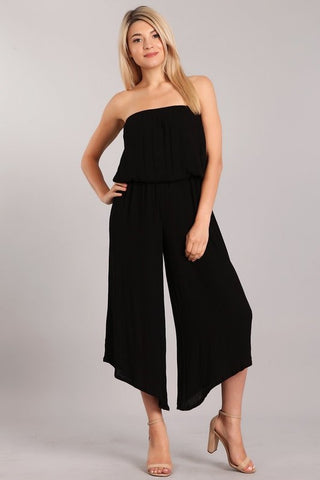 Chatoyant Strapless Cropped Wide Leg Jumpsuit Black