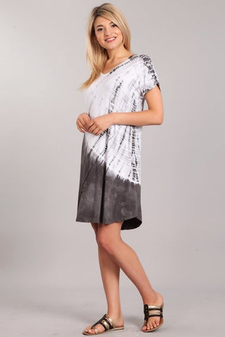 Chatoyant Casual Tie Dye Dress Gray