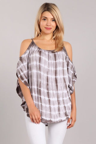 Chatoyant Tie Dye Top Gray
