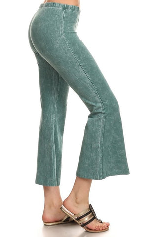 Chatoyant Plus Size Mineral Washed Crop Flare Emerald
