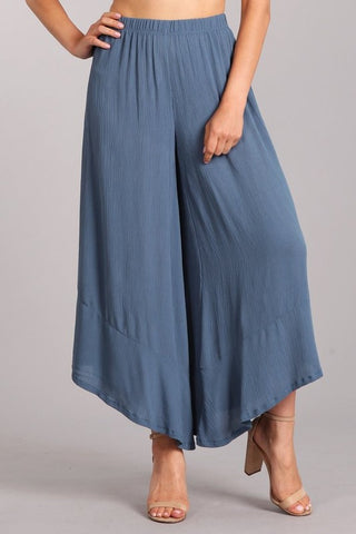 Chatoyant Bohemian Wide Leg Cropped Pants Slate Blue