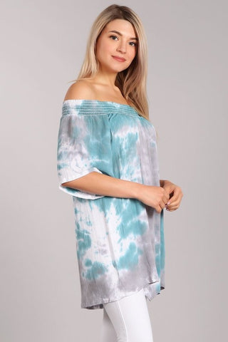 Chatoyant Off Shoulder Tie Dye Top