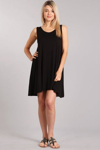 Chatoyant Casual  Tank Dress Black