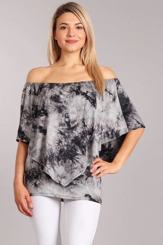 Chatoyant 4 Way Hand Marble Tie Dye Top Gray