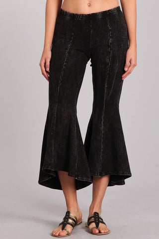 Chatoyant Mineral Wash Cropped Flare Bells Black