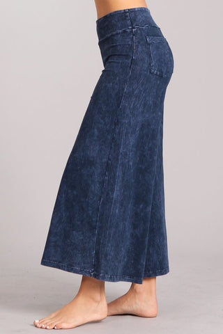 Chatoyant Mineral Wash Cropped Wide-Leg Pants Electric Blue