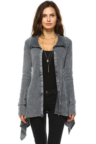 Urban X Mineral Washed Long Sleeve Thermal Tunic Outerwear Charcoal Gray