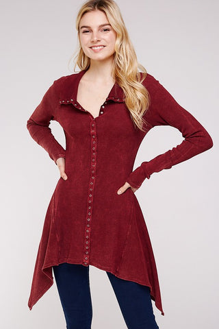 Urban X Mineral Washed Long Sleeve Thermal Tunic Outerwear Burgundy