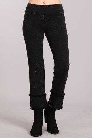 Chatoyant Mineral Wash Cropped Straight Fit Black