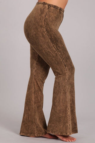 Chatoyant Plus Size Mineral Wash Bell Bottoms Chestnut Brown