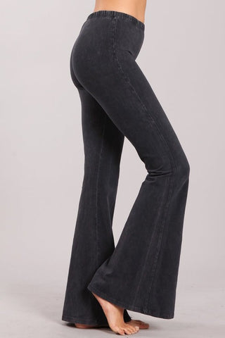 Chatoyant Mineral Wash Bell Bottoms Dark Ash Gray