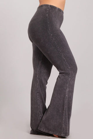 Chatoyant Plus Size Mineral Wash Bell Bottoms Dark Ash Gray