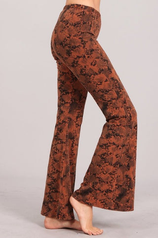 Chatoyant Snake Print Bell Bottoms Sugar Almond