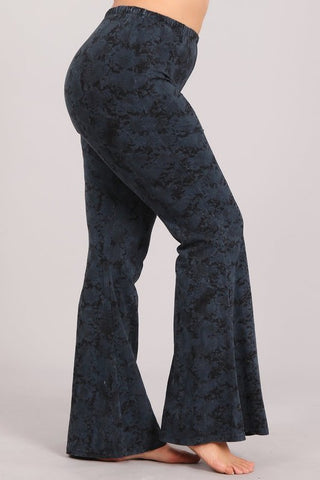 Chatoyant Plus Size Snake Print Bell Bottoms Charcoal Navy