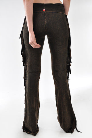 T-Party Mineral Wash Side Fringe Yoga Pants Brown