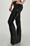 T-Party Mineral Wash Side Fringe Yoga Pants Black
