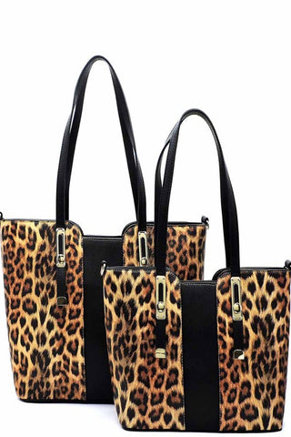 Vegan Leather Leopard 2-in-1 Top Handle Shopper Set