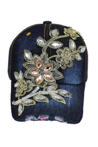 Beautiful Floral and Gold  and Clear Crystal Accent Baseball Cap