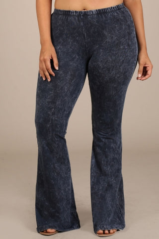 Chatoyant Plus Size Mineral Wash Bell Bottoms Charcoal Navy