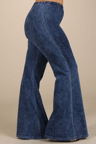 Chatoyant Plus Size Mineral Wash Bell Bottoms Electric Blue