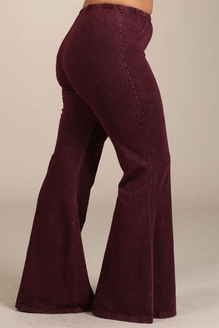 Chatoyant Plus Size Mineral Wash Bell Bottoms Burgundy