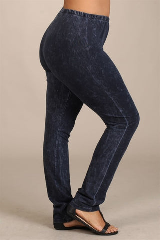 Chatoyant Plus Size Mineral Wash Leggings Charcoal Navy