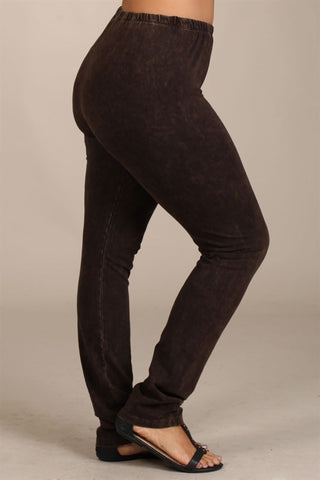 Chatoyant Plus Size Mineral Wash Leggings Brown