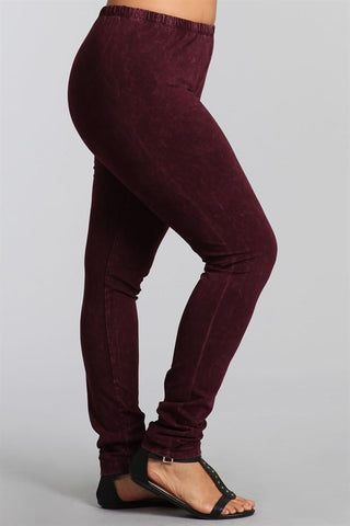 Chatoyant Plus Size Mineral Wash Leggings Burgundy