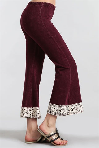 Chatoyant Lace Mineral Washed Crop Flare Burgundy