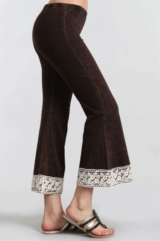 Chatoyant Lace Mineral Washed Crop Flare Brown