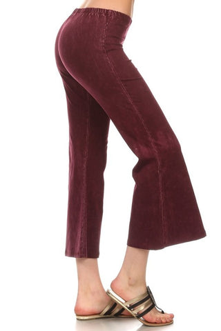 Chatoyant Mineral Washed Crop Flare Burgundy