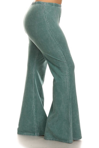 Chatoyant Plus Size Mineral Wash Bell Bottoms Emerald