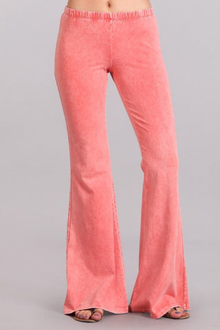 Chatoyant Mineral Wash Bell Bottoms Peach
