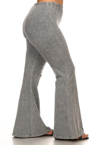 Chatoyant Plus Size Mineral Wash Bell Bottoms Lt. Gray