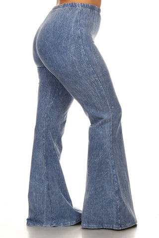 Chatoyant Plus Size Mineral Wash Bell Bottoms Lt. Denim