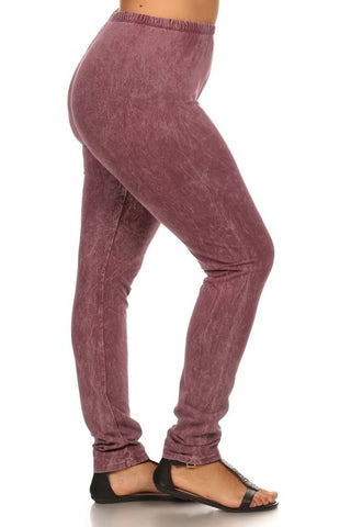 Chatoyant Plus Size Mineral Wash Leggings Mauve