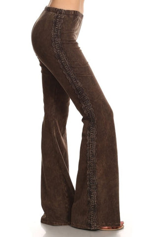 Crochet Side Lace Bell Bottoms Brown