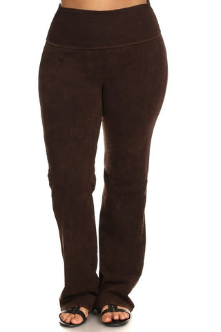 Chatoyant Plus Size Fold Over Waist Yoga Pants Brown