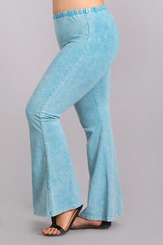 Chatoyant Plus Size Mineral Wash Bell Bottoms Sky Blue