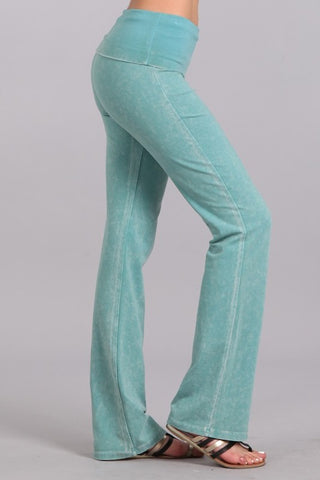 Chatoyant Bootcut Mineral Wash Fold Over Waist Pants Mint
