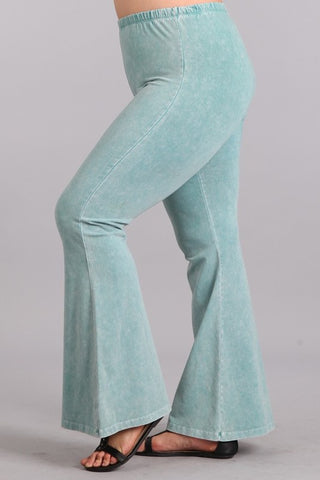 Chatoyant Plus Size Mineral Wash Bell Bottoms Mint